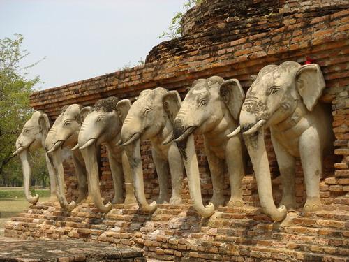 Chedi surrounded by elephants - Sukhothai